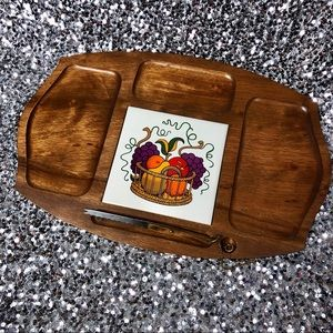 🖤 Vintage 1970s Gail Craft wooden cheese board